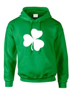Cool Adult Hoodie Sweatshirt With The Print Of White Shamrock. Cool St Patrick's Top! All Sizes Are Available! Next Level Shirt Product Description: - Brand New Item - 50% Cotton 50% Polyester - Soft