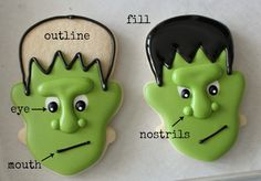 How to make Frankenstein Cookies ...this girl has an awesome cookie decorating blog! excited to try some of her recipes/techniques