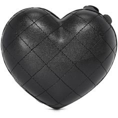 Serpui Marie Quilted Heart Clutch ($290) ❤ liked on Polyvore featuring bags, handbags, clutches, leather purses, quilted chain handbag, kiss lock purse, heart purse and genuine leather purse