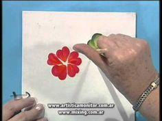 Como pintar Rosas con Acrilicos - Pinceladas - Silvia Mongelos - YouTube