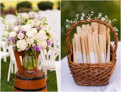 Flowers and Fans for an Outdoor Wedding