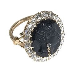 Hardstone Blackamoor Cameo Habille' Rose-cut  Diamond Ring