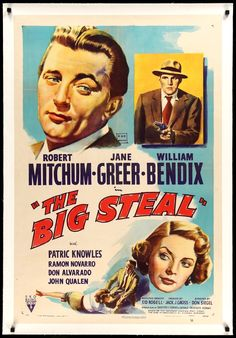 "This is an original, linen-backed one-sheet movie poster from 1949 for The Big Steal starring Robert Mitchum, Jane Greer, William Bendix, Patric Knowles, Ramon Novarro, Don Alvarado, and John Qualen. Don Siegel directed the crime film noir. The poster measures 27"" x 41"" and has been linen-backed for long-term preservation and display. Prior to linen-backing the poster was in very good condition with minor edge and fold wear and pinholes from theatrical display. The poster was folded at the… Movies Box, Top Movies, Movies To Watch, Original Movie Posters, Movie Poster Art, Film Posters, Jane Greer, Crime Film, Information Poster"