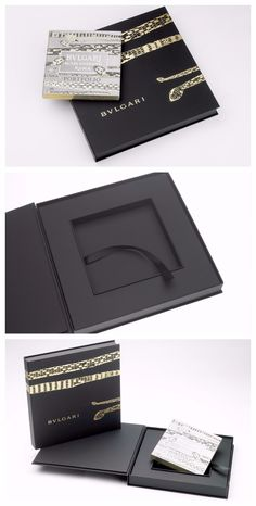 Portfoliobox- Bulgari This Tray in a Three Panel Folder construction, sometimes referred to as a Book Style box, houses a framed insert with a ribbon pull to hold promotional materials as well as a french panel for added closure security- all composed of Eska board. Wrapped in Black Nuba, a rich cover material with the soft-touch feel of nubuck leather from FiberMark, the exterior also features decorative gold foil stamping. #design #folder #box #buglari #influencerkit #folio #portfolio