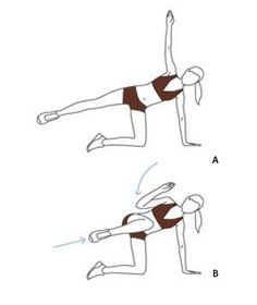 Move 3: Side Balance Crunch  (A) Begin with left knee and left hand on the floor, right arm straight up. Extend right leg so your body forms a straight line. (B) Pull right knee toward torso and right elbow toward knee. Straighten arm and leg. Repeat 10 times, then switch sides.