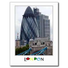 The Gherkin and The Tower, London Post Cards.  A juxtaposition of old and new, with Tower Bridge and the Tower of London in the foreground and the Gherkin (30 St Mary Axe, formerly the Swiss Re Building) and the new City of London behind. Taken from a vantage point on the South Bank, London, England