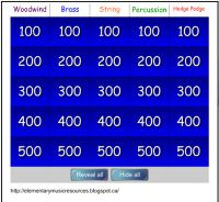 Instrument Jeopardy-just in time! I'm starting this unit with my third graders!