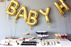 There are so many baby shower themes for boys to choose from. Look no further, this black, white and gold baby shower theme is chic and just what you need!
