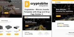 Cryptobite - Bitcoin Joomla Template with Drag and Drop Page Builder 3 based on helix framework, using SP Drag and Drop Page Builder Pro 3, Layer Slider and J2store for ecommerce shop.  This template is suitable for #bitcoin, #blockchain, #coincurrency, #crypto #currency, #CurrencyExchange, #digitalcurrency, # currency, #litecoin, #mining, #responsivewebsite but you can easily transform into different type of website.