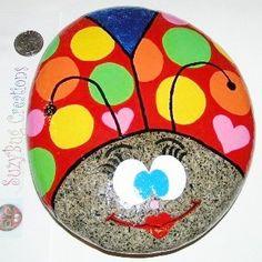 Painted rock, fun ladybug