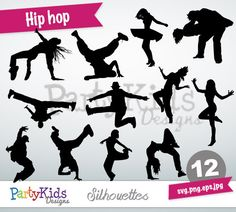 Hip Hop Silhouette, Instant Download, PNG, JPG, SVG, eps files Ps-316