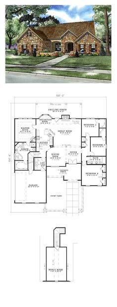 Tuscan House Plan 82114 | Total Living Area: 2135 sq. ft., 4 bedrooms and 2 bathrooms. #houseplan #tuscanhome
