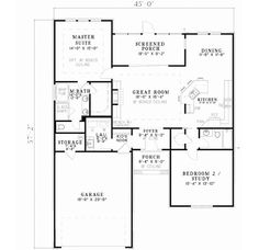 Traditional Style House Plans - 1426 Square Foot Home, 1 Story, 2 Bedroom and 2 3 Bath, 2 Garage Stalls by Monster House Plans - Plan 12-678...