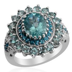 Liquidation Channel | Paraiba Apatite, Malgache Neon Apatite, and Diamond Ring in Platinum Overlay Sterling Silver (Nickel Free)