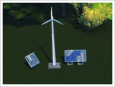 Sims 4 Designs : Windmill & Solar panels set.