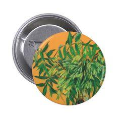 Ash-tree, green yellow summer greenery floral art button