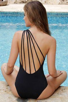 3aca4660fef6c 2017 New Sexy One Piece Swimsuit One Shoulder Swimwear Women Bandage  Vintage Beachwear Bathing Suits Black
