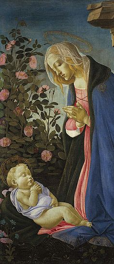 By Sandro Botticelli, ca 1490, The Virgin Adoring the Sleeping Christ Child.