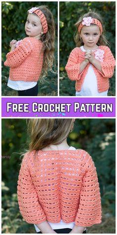 Crochet Flower Friendly Sweater Cardigan & Headband Free Crochet Pattern Source by Crochet Toddler Sweater, Crochet Baby Sweaters, Bag Crochet, Crochet Girls, Crochet Baby Clothes, Crochet For Kids, Free Crochet, Flower Crochet, Crochet Dresses