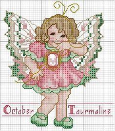 Toddler Birthstone Fairy October Tourmaline Cross Stitch Pattern 3/5