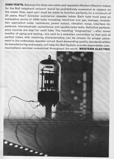1963 Western Electric Tube Bell Telephone Cable Advertising, Ads, Consumer Products, Telephone, Westerns, Tube, Electric, Retro, Phone