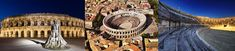 Roman amphitheater of Nimes. Built c. 70, under Roman Emperor Vespasian.