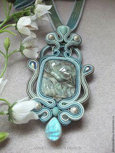 Купить Акварель - сутажная техника, сутажная вышивка, сутажное украшение, голубой, резной камень
