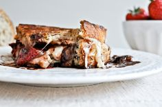 Roasted Strawberry, Brie, and Chocolate Grilled Cheese.  What?!?
