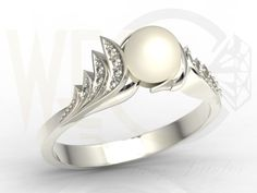 Pierścionek z białego złota z perłą i diamentami/ Ring made from white gold with pearl and diamonds/ 1692 PLN  #pearl #ring #diamonds #jewellery