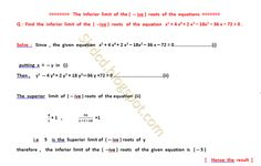 Applied Mathematics: The inferior limit of the ( -- ive ) roots of  the...