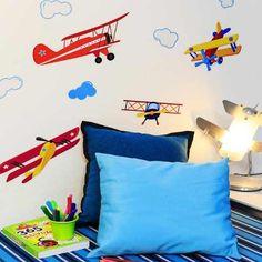 adesivo parede avioes coloridos