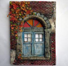Autumn miniature windows By Gül ipek Autumn Leaves   #sonbahar #pencere #gulipeksanat #diorama #model #autumn #leavers #colors #mini #tiny #collection #handmade #mukavva #paperart #art #artist #canon #photo #vintage #windows