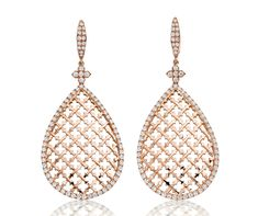 "Drop Earrings, ""Moucharabieh"" Collection - Pink gold, diamonds"