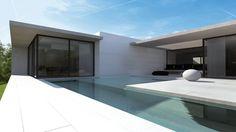 La piscine extérieure d'une villa design près de Lyon. Plus de photos sur Côté Maison http://petitlien.fr/7ski