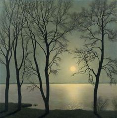 Felix Heuberger: Lake in the moonlight, 1930 (via: akaixab)   A native of Vienna, Felix Heuberger was a self-taught artist, living in Tyrol since 1923.  He worked as a painter and etcher.  He became known through the exhibition of his works in the Vienna Künstlerhaus.   His favorite subjects were high mountain landscapes, often characterized by a beautiful and atmospheric light.