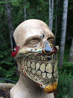 Leather skull Mask Sugar skull day of the dead mask by SkinzNhydez on Etsy https://www.etsy.com/listing/398841218/leather-skull-mask-sugar-skull-day-of