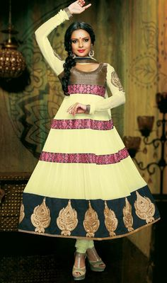 Pale Yellow Flared Georgette Anarkali Suit Price: Usa Dollar $138, British UK Pound £81, Euro102, Canada CA$150 , Indian Rs7452.