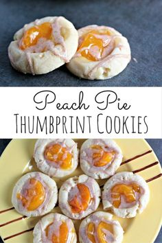 Peach Pie Thumbprint Cookies feature a shortbread type cookie topped with peach pie filling and drizzled with a cinnamon glaze. Mini peach pie in a cookie!