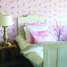 papier behang vogels zacht roze