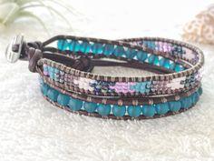 Teal Sea Glass Bracelet  Beaded Leather Wrap Bracelet  by PinaHina