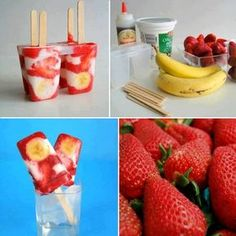 Strawberry Banana Ice Pops