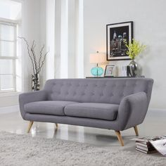 Amazon.com: Mid-Century Modern Linen Fabric Sofa, Loveseat in Colors Light Grey, Polo Blue, Sky blue, Yellow and Red (Light Grey, 3 Seater): Kitchen & Dining