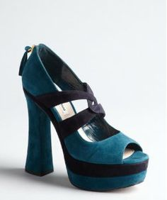 I could never wear a heel this high, but it's so fabulous. Miu Miu teal suede platform sandals