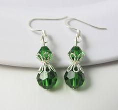 Green Earrings Green Drop Earrings Green Jewelry by BeadBrilliant, $16.00