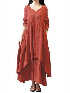 Gracila Vintage Women Solid Long Sleeve Patchwork Irregular Asymmetry Dress