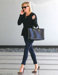 Boardroom Empire: Reese Witherspoon looks confident and sophisticated in a black peplum top and Christian Louboutin leopard print heels Leopard Heels Outfit, Leopard Print Heels, Heels Outfits, Moda Fashion, Petite Fashion, Womens Fashion, Moda Petite, Reese Witherspoon Style, Black Peplum