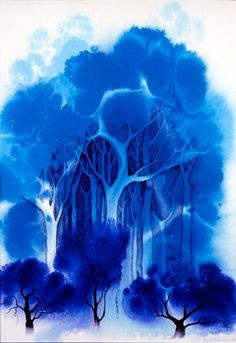"""""""Blue Forest"""" watercolor by Eyvind Earle 1916 - 2000 Eyvind Earle, Illustrator, Blue Forest, Blue Art, Color Blue, Watercolor Paintings, Watercolors, Painting Art, Painting Styles"""