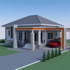 Are you looking for a comfortable residential house? Discover the features of this elevated tropical one story house: blend of nature and architecture. Bungalow Floor Plans, Bungalow House Design, Small House Design, Simple House Plans, New House Plans, Single Storey House Plans, African House, Model House Plan, House Design Pictures