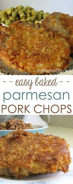 Baked Parmesan Crusted Pork Chops : Serve these parmesan crusted pork chops to your family for dinner. You'd never know they're baked and not fried! It's our all-time comfort food favorite my boys ask for over and over again. Baked Parmesan Pork Chops, Baked Pork Chops, Parmesean Crusted Pork Chops, Pork Recipes, Cooking Recipes, Recipes For Pork Chops, Quick Pork Chop Recipes, Barbecue Recipes, Oven Recipes
