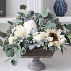 Farmhouse Fall Arrangement~Fall Floral Centerpiece~Modern Farmhouse Decor~ Hydrangeas, White Pumpkins and Greenery In A Wood Pedestal – Dekoration Fall Floral Arrangements, Floral Centerpieces, Wedding Centerpieces, Fall Table Centerpieces, Pumpkin Arrangements, Wedding Table, Fall Home Decor, Autumn Home, Blue Fall Decor